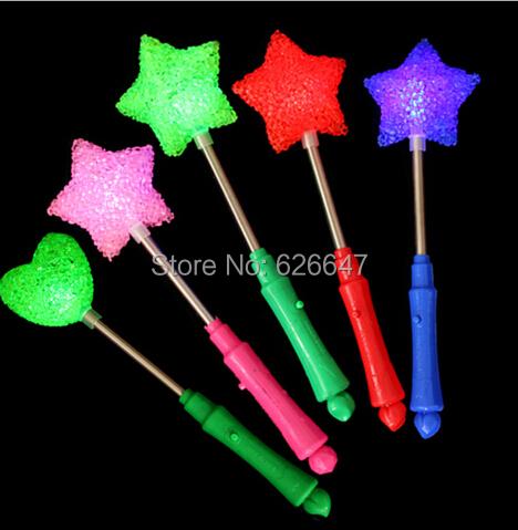 free shipping worldwide 20pcs/lot LED star rose heart glow wand mixed flashing light stick for concert(China (Mainland))