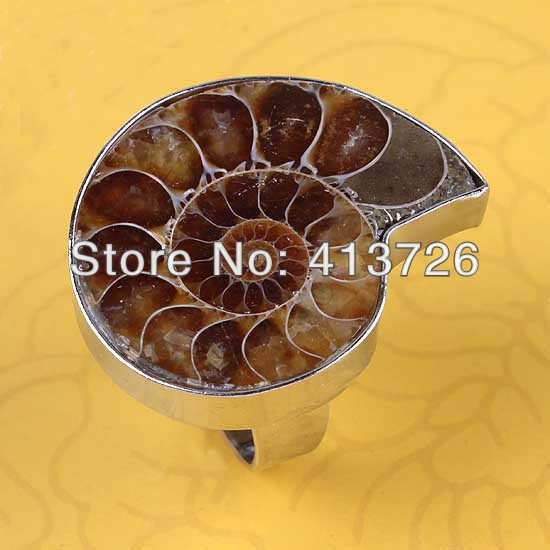 Free Shipping wholesale 10Pcs Silver Plated Natural Ammonite Fossil  Adjustable Unisex Finger Ring Jewelry