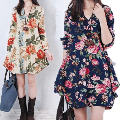Maternity Photography Props Dress Flower Print Bohemian Maternity Clothes Pregnant Women Plus Size Long-sleeve Pregnancy Clothes(China (Mainland))