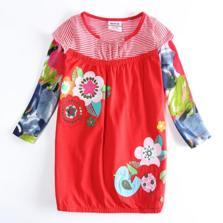 retail Baby Girl's Flower Pattern Dress,kids Clothes,Child Girls Fashion Floral Dresses Vestido Free Drop Ship kid wear(China (Mainland))