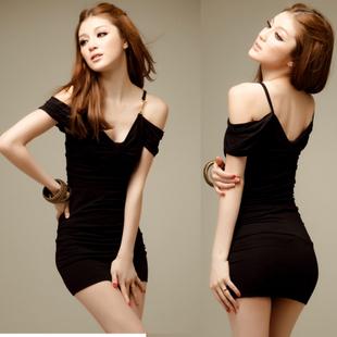 2015 Spring and summer sexy women's V-neck strapless short slim hip racerback dress
