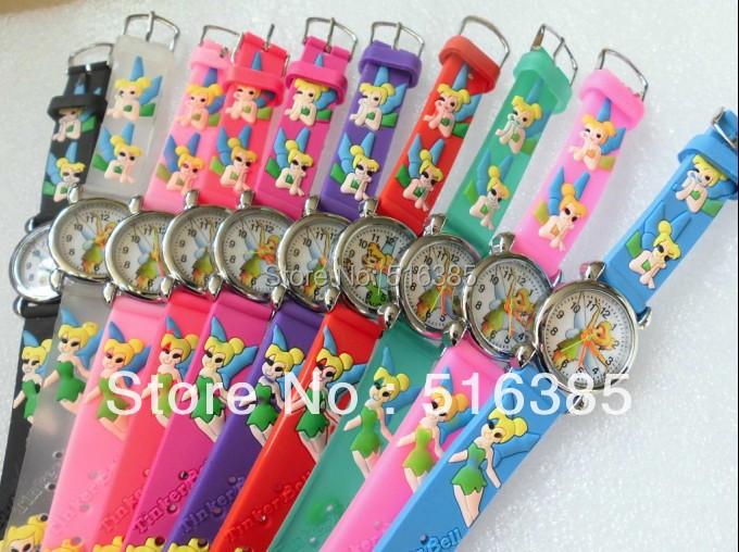 140pcs/lot NEW Cartoon 3D Children Watch Good Gift kids watch TinkerBell wristwatch(China (Mainland))