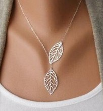 Korean fashion trend wild forest-based metal leaf pendant necklace clavicle short section of double-leaf jewelry  free shipping