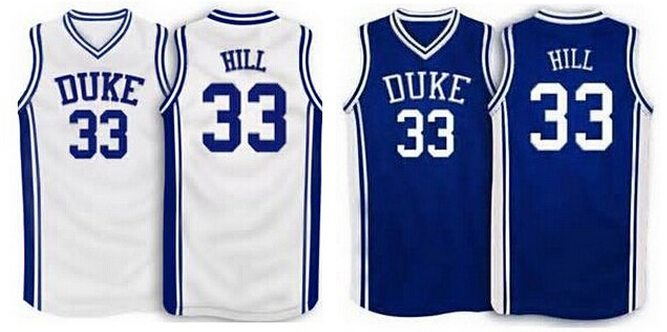 # 33 Grant Hill NCAA Duke Blue Basketball Jersey blue white New Material Mens XS-5XL embroidery jerseys