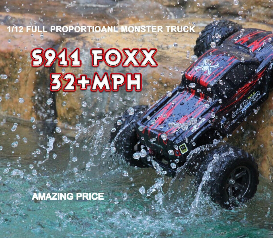 40kmh+ New 1/12 scale Electric rc monster truck Off road 2.4Ghz 2WD high speed remote controlled car Ready To Run(China (Mainland))