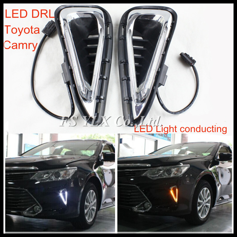 For Toyota Camry DRL LED Light conducting LED daytime running lights DRL with turn signal light  for Camry 2015<br><br>Aliexpress