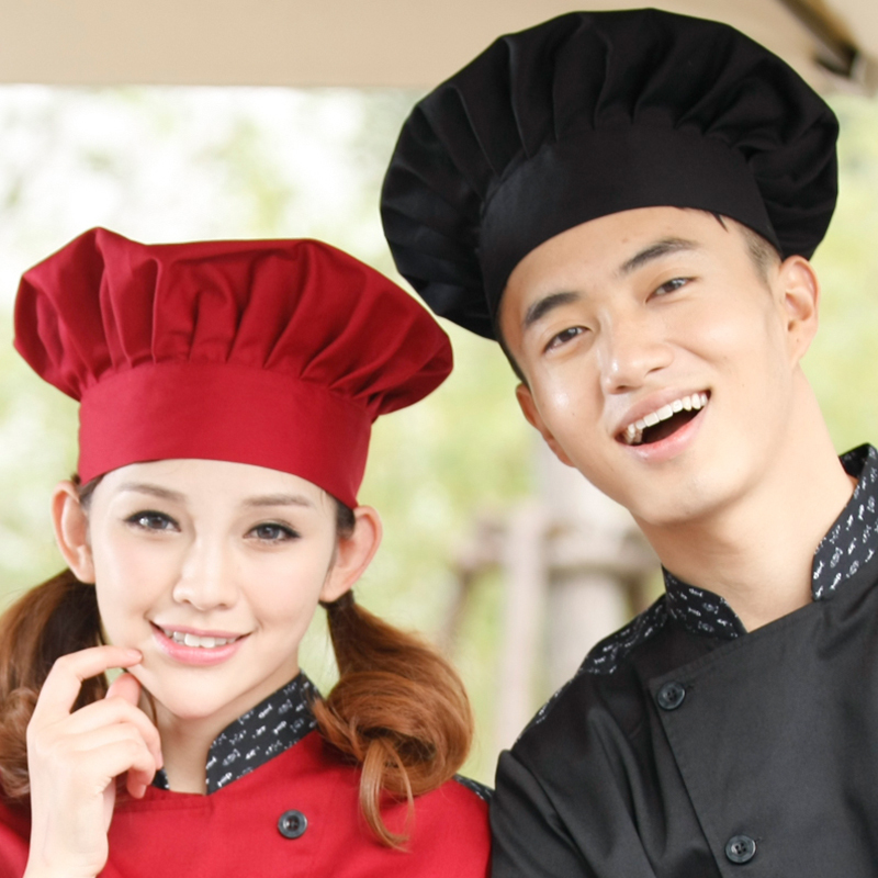 Free Shipping 2015 Restaurant Hotel Kitchen Pleat Chef Hats Caps Adjustable White Black Navy Wine Red Color Unisex(China (Mainland))