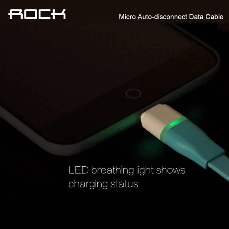 ROCK Original Auto-disconnect Data Cable Sync USB Cable For Micro Android Intelligent Control Chip 1m LED phone Cable Line(China (Mainland))