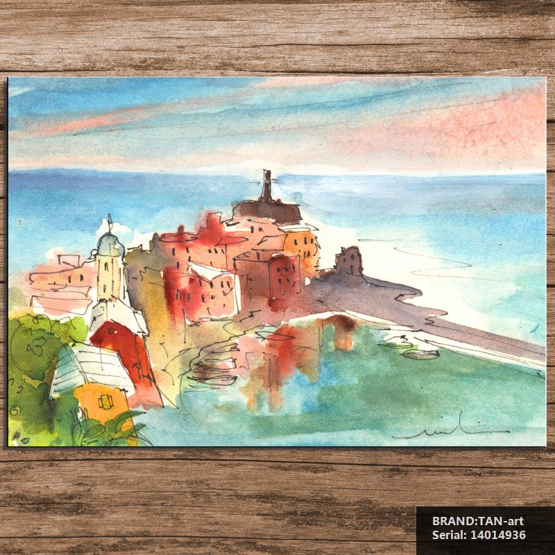 Vernazza In Italy Painting Seascape Abstract Spray Unframed Canvas Frameless oil Painting Drawing 14014936(China (Mainland))