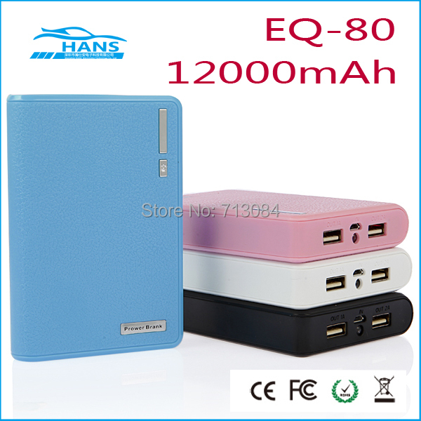 HOTTEST Wallet style 12000mAh Power Bank USB Battery Charger External Battery Pack With LED Lighting Free shipping.