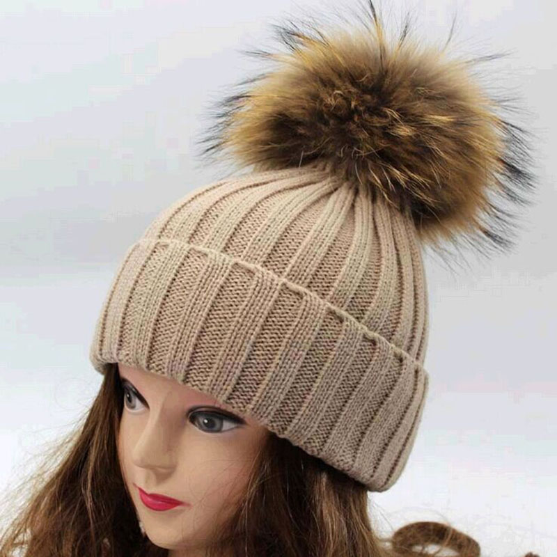 Гаджет  Free shipping 2015 new 100% raccoon fur Autumn and winter large 18cm ball Knitting wool cap Keep warm pointy hat woman None Одежда и аксессуары
