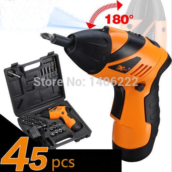 4.8 V Lithium Electricity Rechargeable Upgrade Foldable Screwdriver Batch Head Suit 45PCS Small Electric Drill driver Sleeve(China (Mainland))
