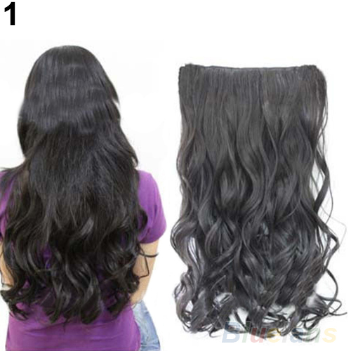 Hot Fashion Full Head Clip Curly/ Wavy Women Wig Synthetic Hair Extension Extensions 1DOQ(China (Mainland))