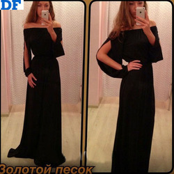 Black Chiffon Maxi Dress Long 2015 Long Sleeve Elegant Party Dresses Sexy Club Off Shoulder Beach Summer Dress Vestido De Festa