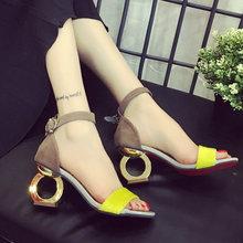 2016 New Fashion Women's High Heels Pumps Sexy Bride Sandals square Heel Peep toe High Heels Shoes women(China (Mainland))