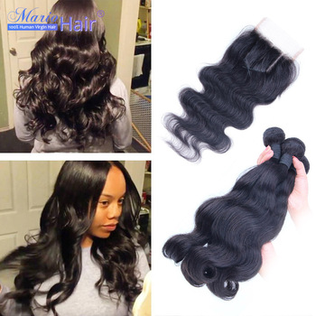 7A Brazilian Virgin Hair With Closure Body Wace Brazilian Human Hair Weave With Closure 4 Pcs lot For A Full Head,