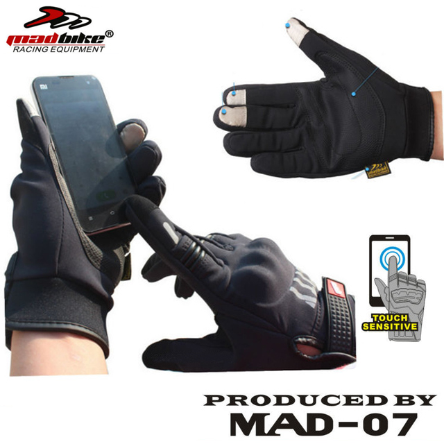 100% Original Madbike Motorcycle Gloves Warm Touch Screen Phone Reflective Armor Guantes CG-M07(China (Mainland))