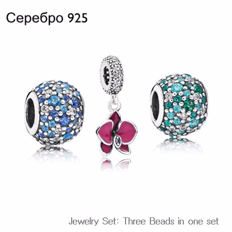 100% Authentic 925-Sterling-Silver Beads Round Fits Pandora Beads Bracelet Summer Style Orchid Charms Sterling-Silver-Jewelry