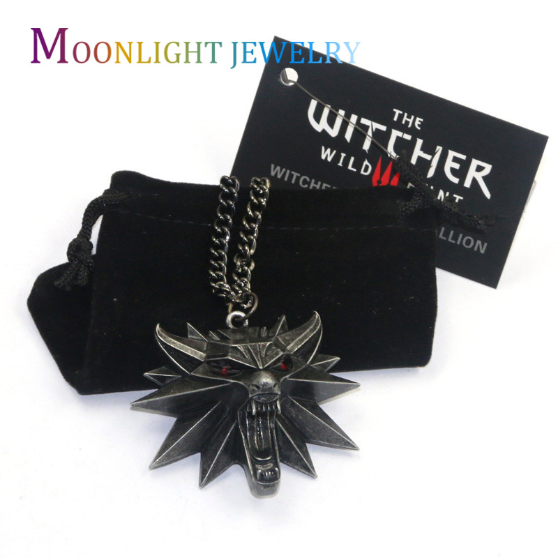 2016 Vintage Bronze Wolf Head Necklace Wizard Witcher 3 Medallion Pendant Necklace The Wild Hunt 3 Figure Game Free Shipping C3(China (Mainland))