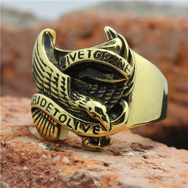 Mens 316L Stainless Steel Cool Golden Eagle Biker Live to Ride Ride to live Cool Ring(China (Mainland))