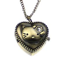 "Vintage Style Kitty Pocket Watch Gift Locket Heart Pendant with Cubic Zirconia Quartz Bronze Long Necklace Chain 31""(China (Mainland))"