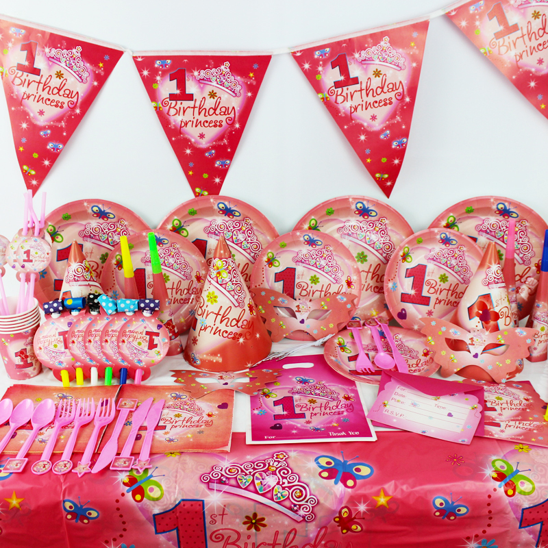 2015 New 78pcs Pretty girl 1 year old Kids Boys Birthday Party Decorations Kids Evnent Party Supplies Party Decoration(China (Mainland))