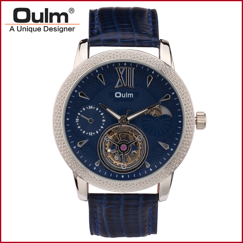 Oulm 3M Waterproof Men Mechanical Watch Genuine Leather Band 3682(China (Mainland))