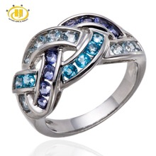 Actual Aquamarine Blue Topaz Iolite Robust 925 Sterling Silver Woven Ring For Women Top quality Jewelry