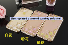 Floral Luxury Rhinestone Painted TPU Soft Silicone Clear sFor iPhone 6 6plus iPhone6 Case The secret garden Phone Case Cover