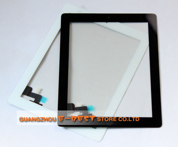 10pcs/lot for iPad 2 Digitizer Touch Screen assembly with home button + adhesive already Free by DHL or Ems