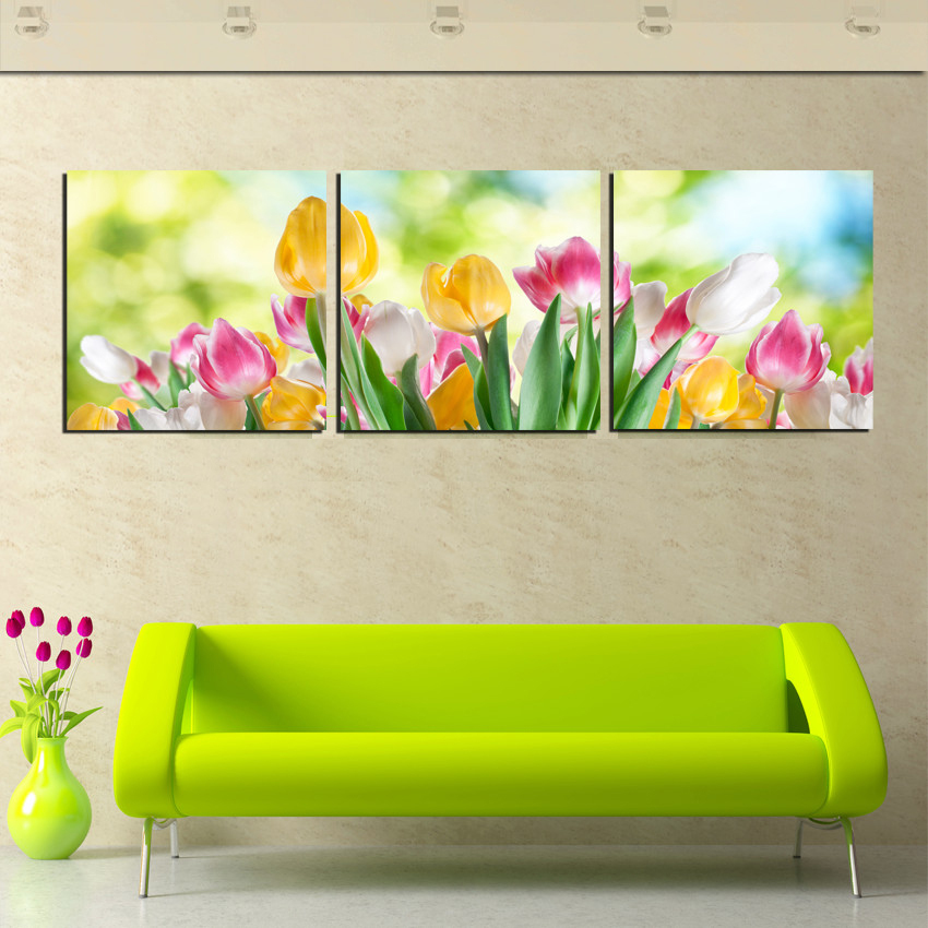 store product  Piece Flower Canvas Wall Paintings Blossom Tulips Oil Painting On Printed For Modern Home