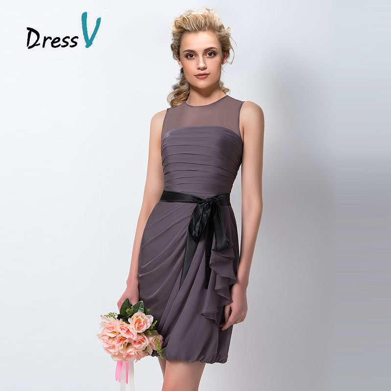 Dressv cheap short bridesmaid dresses 2016 sheerly o neck for Maid of honor wedding dresses