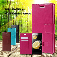 Luxury Phone Bag For Lenovo A7000 Crazy Horse Leather Card Holder Phone Case for Lenovo K3 Note K50-t5 / A 7000-5.5inch