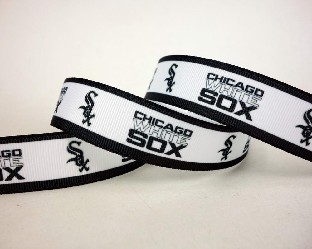 "50 Yds/roll 3"" White Grosgrain Ribbon C-White Sox Baseball Sports Printed Bow Accessory Headband Decoration Craft(China (Mainland))"