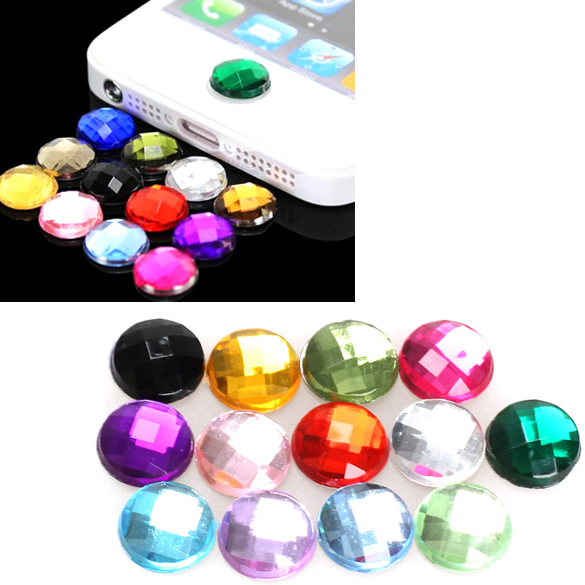 10pcs Rhinestone Bling Home Button Stickers for Apple iPod iPhone 3GS 4G 4S 5 5G DY-fly(China (Mainland))