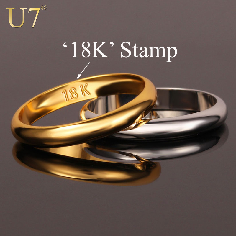 "Gold Rings With ""18K"" Stamp Quality Real Gold Plated Women/Men Jewelry Wholesale Free Shipping Classic Wedding Band Rings R302(China (Mainland))"