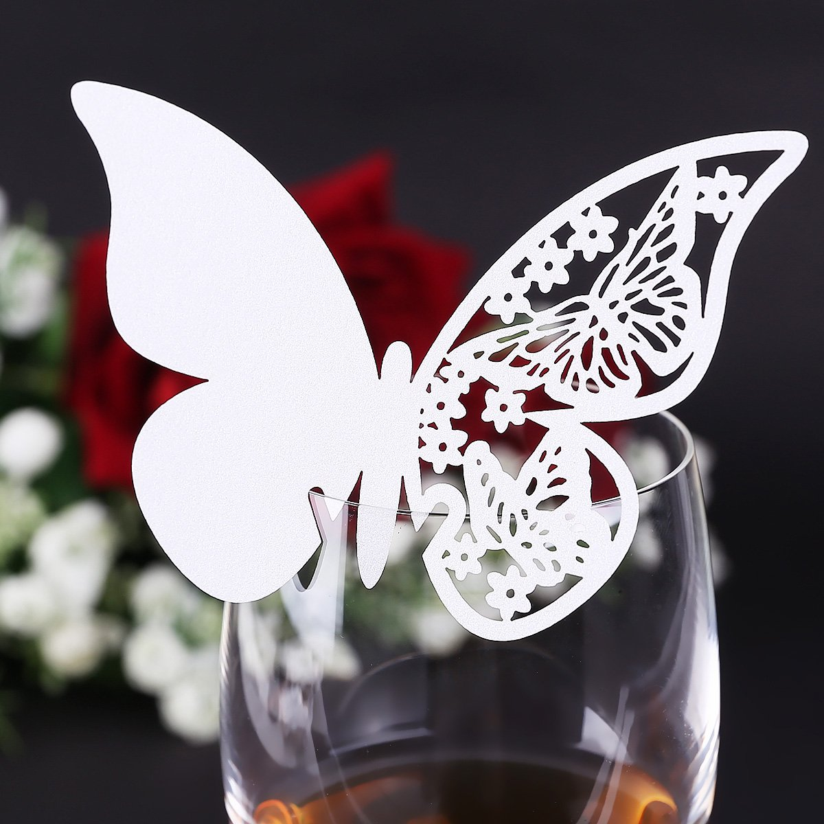 GSFY! 20 pcs Glass Card Holder Brand Names butterfly-Places # 941 white wedding baptism decoration<br><br>Aliexpress