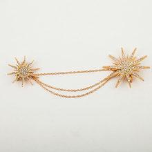 Berlian imitasi Snowflake Bros Pins Wanita Pria Bintang Emas Perak Hitam Disepuh Rantai Ganda Bros Kristal Aksesoris Perhiasan Lencana(China)