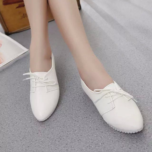 the and autumn new flat shoes white shoe lace