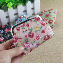 Small Rose Print Floral Bomboniera Buckle Wallet Bag Keys Pouch Coin Purse Gift