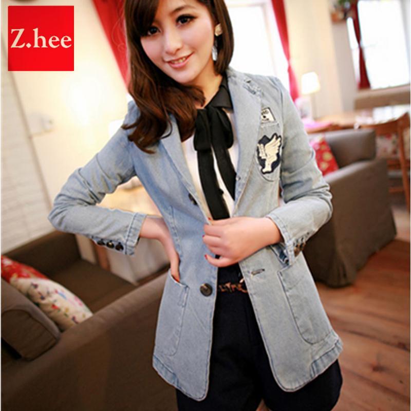 New Retro Womens Blazers Korean Denim Jacket Slim Long Small Suit Cowboy(China (Mainland))