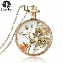 Women Jewelry Collares Dry Flowers Glass Necklace Pendant Vintage Long Chain Choker Necklace Summer Fine Jewerly