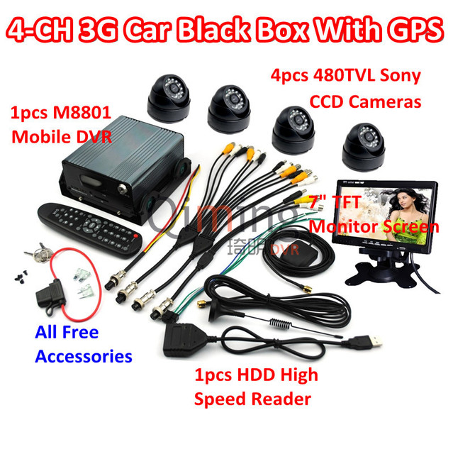 Free DHL Shipping 3G GPS Car Black Box Set: 4pcs Cameras 1pcs Screen 1pcs HDD Reader, All Car Black Box Kit Need are Included