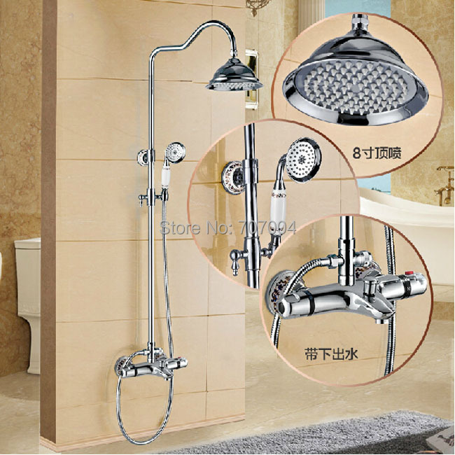 """Brass Thermostatic Mixing Valve Shower Faucet Thermostatic: Aliexpress.com : Buy Luxury 8"""" Brass Rainfall Shower Set"""