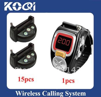 Most popular Wireless Waiter Call System; 15pcs of table bell and 1pcs of wrist watch reciever ;DHL freeshipping