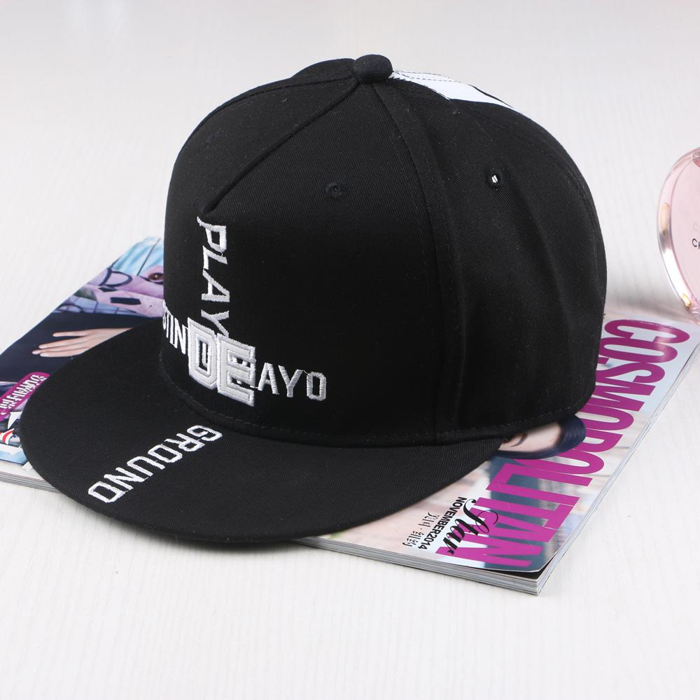 Fashion Hiphop Simple Fabirc Play Ground Embroidery Letters Baseball Cap snapback cap Flat hat peak cap street dance cap Black(China (Mainland))