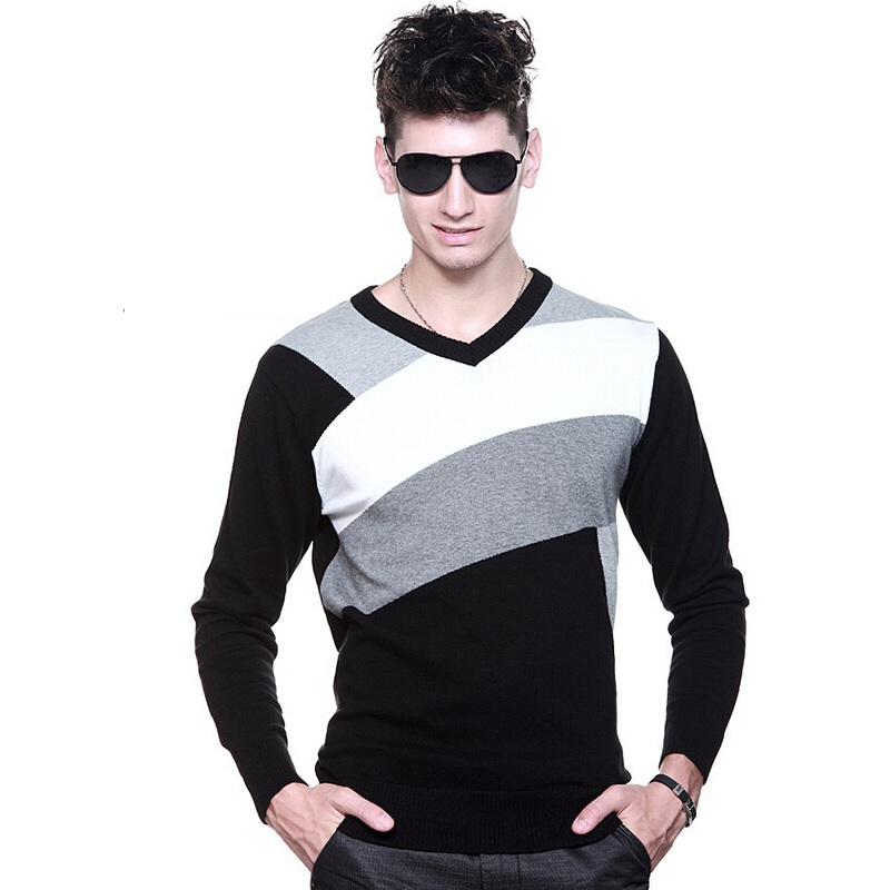 2015 Designer Slim Fit V Neck Sweater Men,Patchwork Knitwear Men V-neck Sweater Casual Knit Jumpers,Fashion Sweater And Pullover(China (Mainland))