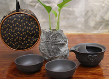 5pcs Quick and Easy Type 3 Teapot  Cup With Beautiful Bag+1 Teapot+2 Cups+10g Black Tea,Ceramic Kung Fu Portable Travel Tea Cup