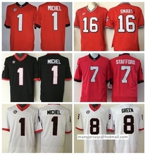 Georgia Bulldogs College Jerseys Black Red White 1 Sony Michel 11 Greyson Lambert 8 AJ Green 7 Matthew Stafford 11 Aaron Murray(China (Mainland))