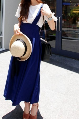 2013 summer fashion all-match fashion high waist suspenders half-length full dress chiffon pleated braces skirt
